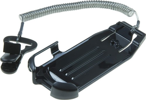 Holder with coiled lanyard and clip for Zebra EC30